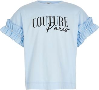 River Island Girls Blue printed ruffle sleeve T-shirt