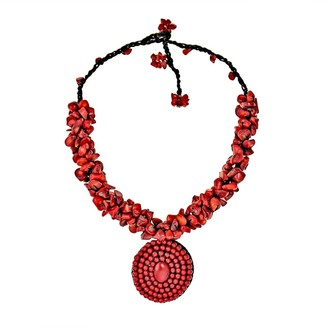 Aeravida Handmade Synthetic Coral Mosaic Cluster Red Necklace