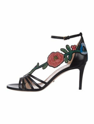 Gucci Leather Floral Print Sandals w/ Tags Black