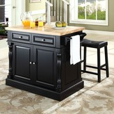 Crosley Furniture 3-piece Kitchen Island & Saddle Counter Stool Set
