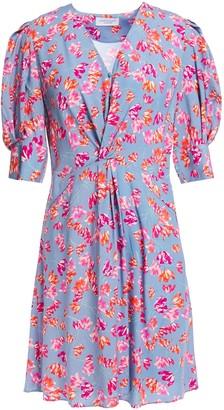 Hofmann Copenhagen Marisa Twist-front Floral-print Woven Mini Dress