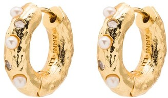 Anni Lu 18kt Gold-Plated Pearl-Embellished Hoop Earrings