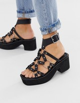 Asos Design DESIGN Hooper ring detail chunky mid heeled sandals in black