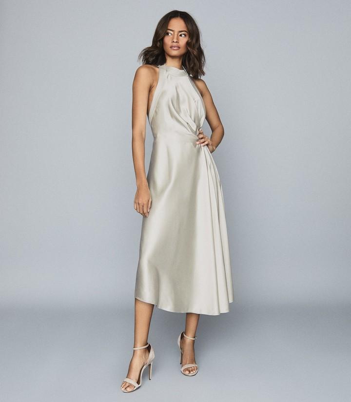 Reiss Rita - Halterneck Satin Midi Dress in Silver