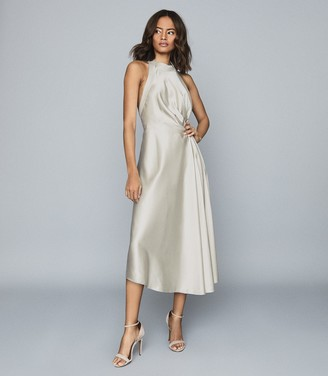 Reiss Rita - Halterneck Satin Midi Dress in Silver