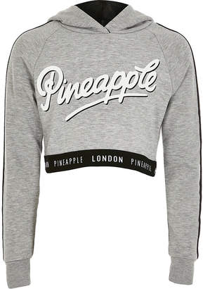 River Island Girls Pineapple grey printed cropped hoodie