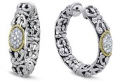 Effy Jewelry Effy 925 Sterling Silver and 18K Gold Accented Diamond Earrings, 0.19 TCW