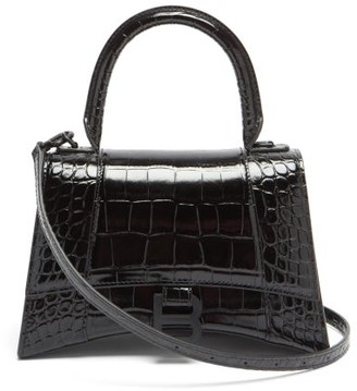 Balenciaga Hourglass Small Crocodile-effect Leather Bag - Black