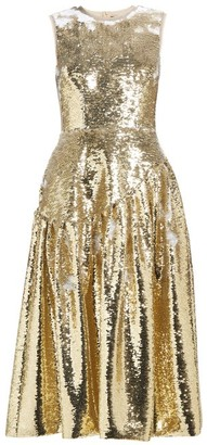 Simone Rocha Sequinned Midi Dress - Womens - Gold