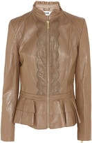 ALICE by Temperley Page laser-cut ruffled leather jacket