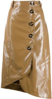 Ganni Asymmetric Buttoned Skirt