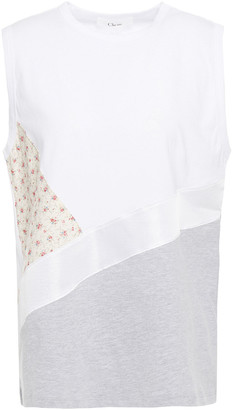 Clu Patchwork-effect Printed Woven And Cotton-jersey Top