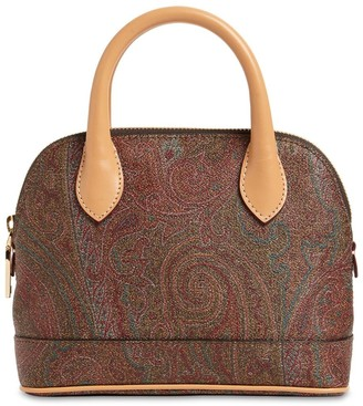 Etro Paisley Coated Cotton Top Handle Bag