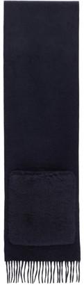 Max Mara Navy Wool Wktedd Two-Pocket Scarf