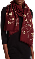 Saachi Embroidered Golden Branch Merino Wool Wrap