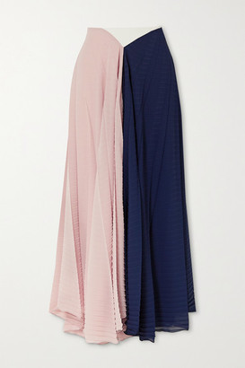 Roland Mouret Orvana Color-block Pleated Georgette And Crepe Maxi Skirt - Navy