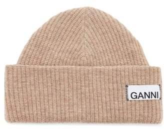 Ganni Logo-patch Wool-blend Beanie Hat - Womens - Beige