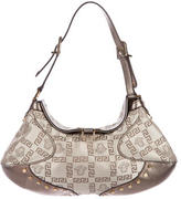 Versace Leather-Trimmed Medusa Shoulder Bag