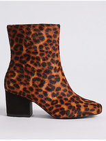 M&S Collection Leather Wide Fit Square Toe Ankle Boots