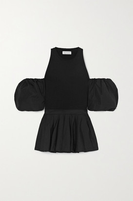 Alexander McQueen Cold-shoulder Pleated Cotton-jersey And Poplin Top - Black