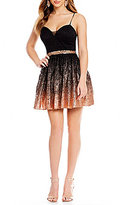 B. Darlin Foil-Dipped Lace Fit-And-Flare Dress