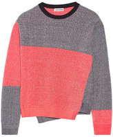 Jil Sander Color-block Mélange Cotton-blend Sweater - Navy