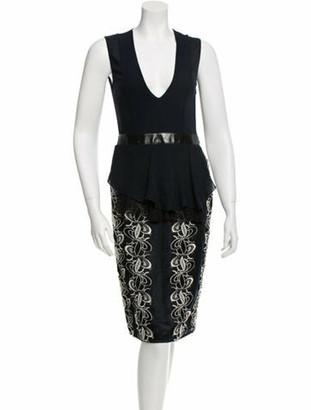 Brandon Sun Crochet-Embellished Sheath Dress w/ Tags Navy