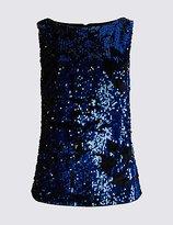 M&S Collection Embellished Slash Neck Shell Top