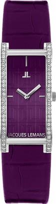 Jacques Lemans Rome 1-1547C Ladies Purple Leather Strap Watch