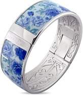 Laura Ashley Rhodium Plated Vintage Blue Floral Enamel Bangle