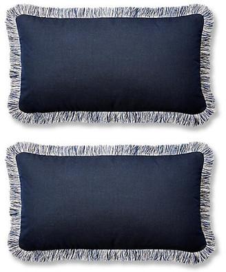 One Kings Lane Set of 2 Meridia Lumbar Pillows - Indigo Sunbrella