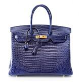 Hermes pristine (PR Sapphire Bleu Porosus Crocodile 35cm Birkin Bag with Gold Hardware