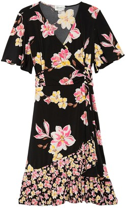 Donna Morgan Short Sleeve Ruffle Floral Print Dress (Plus Size)