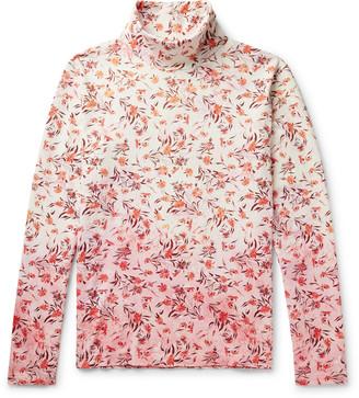 Acne Studios Floral-Print Degrade Cotton Rollneck T-Shirt