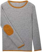 Orwell + Austen Cashmere - Grey & Gold Cashmere Elbow Patch Sweater