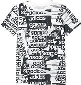 adidas Kids Kids Core Linear Print Tee (Big Kids) (White) Boy's Clothing