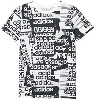 adidas Kids Core Linear Print Tee (Big Kids) (White) Boy's Clothing