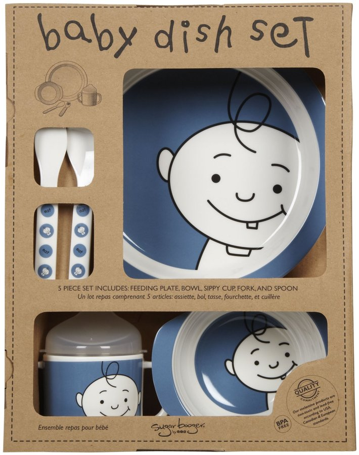 SugarBooger by O.R.E. Melamine Dish Set Peek-A-Boo - Blue Berry