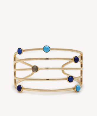 Sole Society Women's Statement Cuff Bracelet 12K Soft Polish Gold/labradorite/dark Blue Opal/turquoise/lapis One Size From