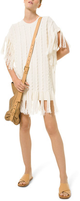 Michael Kors Collection Hand-Embroidered Fringe Cashmere Sweater