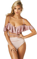 Montce Swim - Dusty Rose La Caletta Top X Pink Stripes High Rise Bottom Bikini Set