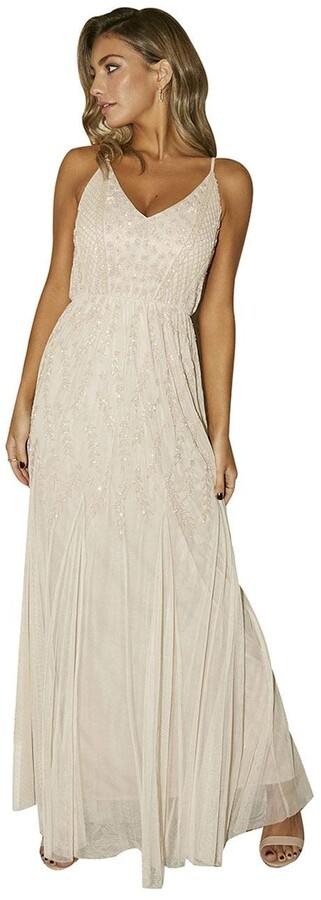Thumbnail for your product : Little Mistress Bridesmaid Aida Nude Floral Embellished Maxi Dress 14 UK Nude