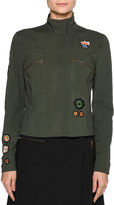 Tomas Maier Patch Jacket-Shaped Blouse, Olive