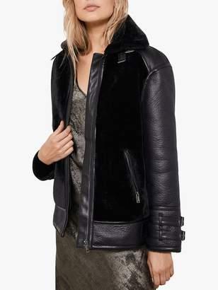Mint Velvet Faux Fur Aviator Coat