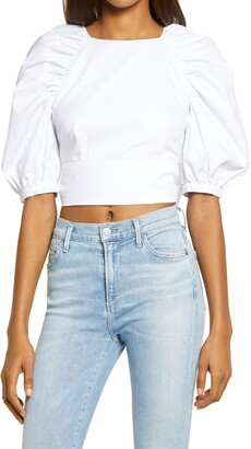 Bardot Puff Sleeve Back Cutout Top