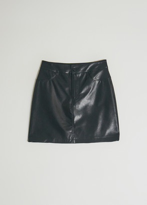 Which We Want Women's Thea Mini Skirt in Black, Size Small | Leather
