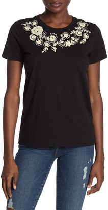 Lucky Brand Embroidered Floral Slub T-Shirt