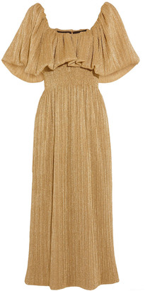 Emilia Wickstead Plisse-lame Midi Dress