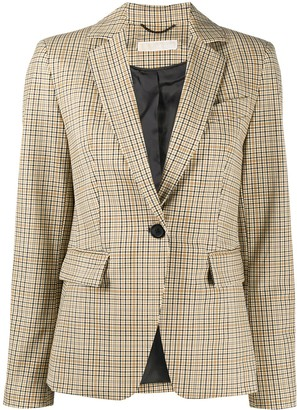 MICHAEL Michael Kors Check-Print Single Breasted Blazer