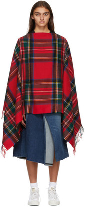 Comme des Garçons Shirt Red Wool Tartan Poncho